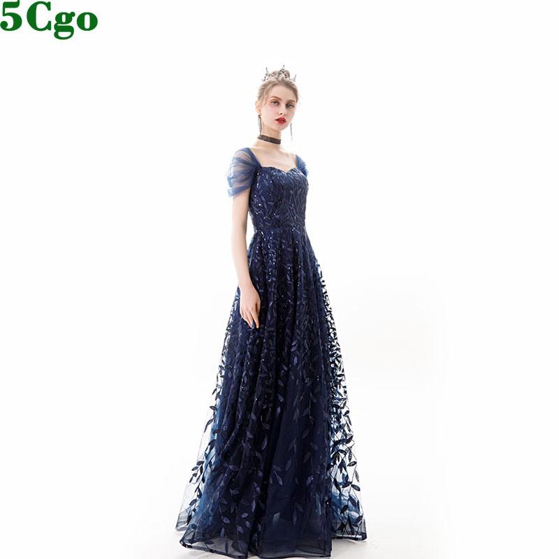 5Cgo含稅促銷宴會晚禮服女長款年會氣場主持人晚裝裙網紗肩藏青色一字肩抹胸蓬蓬裙t596337264179