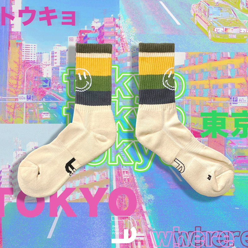 BEST FOOT FRIEND - BF200035-SN 條紋笑臉撞色 BFF 中筒襪 小腿襪 (沙色) 化學原宿