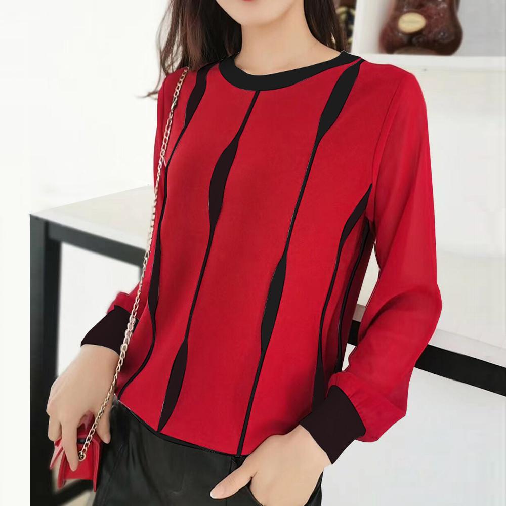 Jumase 撞色中大碼顯瘦 包芯紗針織保暖上衣 一亮麗紅 (D2004108)長袖