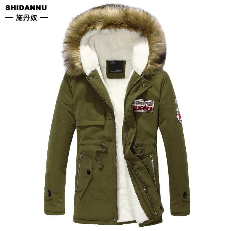 男士連帽棉襖 S-4XL 冬天內刷毛保暖外套 中長款大尺碼防風防寒上衣 情侶款 大毛領加絨加厚禦寒風衣 男生衣著