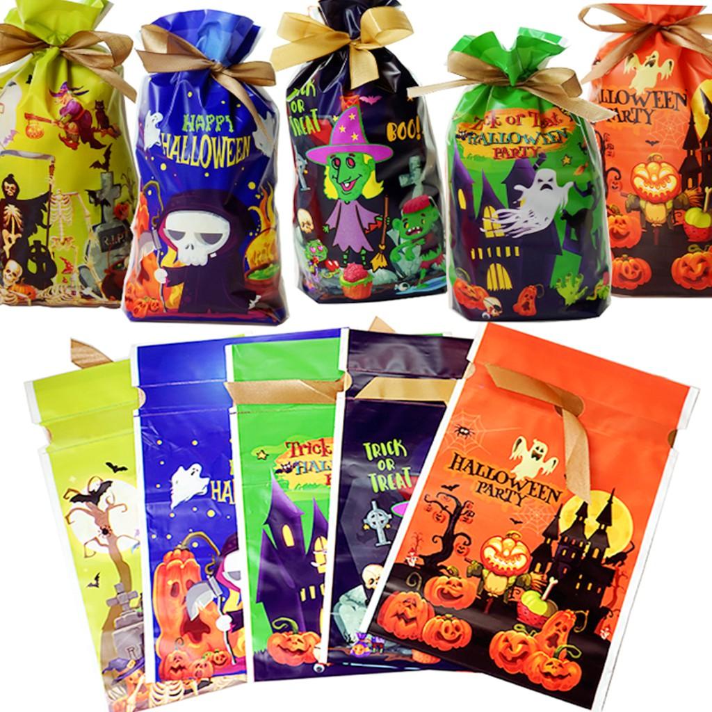 萬聖節 附緞帶束口袋 糖果袋 禮物袋 南瓜 女巫 幽靈 骷髏 【RHW0196】《Jami》