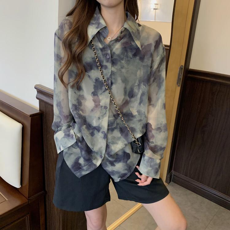 37177 韓版夏款紮染漸變設計感小眾薄款雪紡襯衫