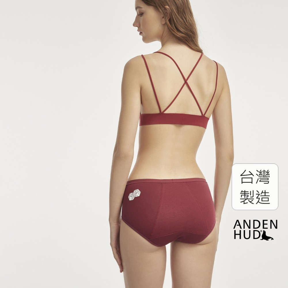 【Anden Hud】那年花開.高腰生理褲(酒紅-骰子) 台灣製