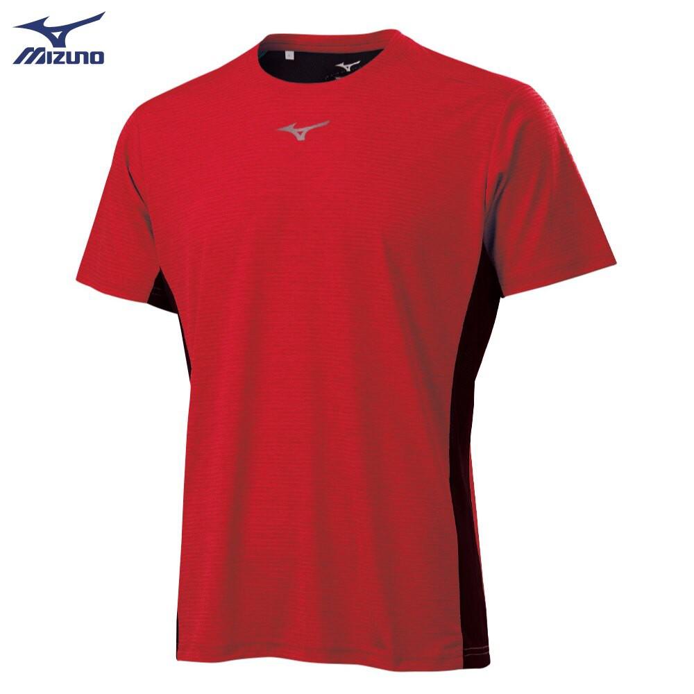 MIZUNO 男裝 短袖 T恤 吸汗快乾 合身版型 炫彩LOGO 紅【運動世界】K2TA100162