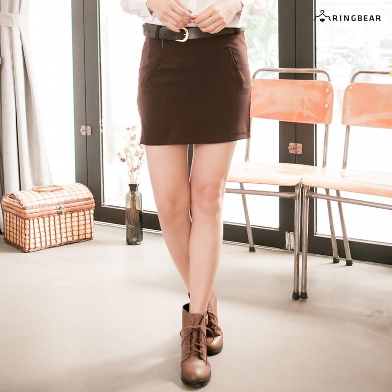 眼圈熊 中大尺碼 優雅修身氣質包臀顯瘦素面隱形拉鍊西裝窄裙(咖3L-7L)-Q59