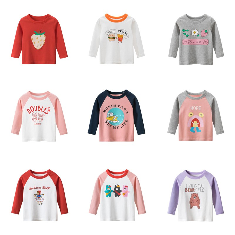 童裝大廠出品 高品質現貨 女童長袖上衣 2021年春季新款純棉卡通兒童長袖上衣 童裝新款圓領T恤