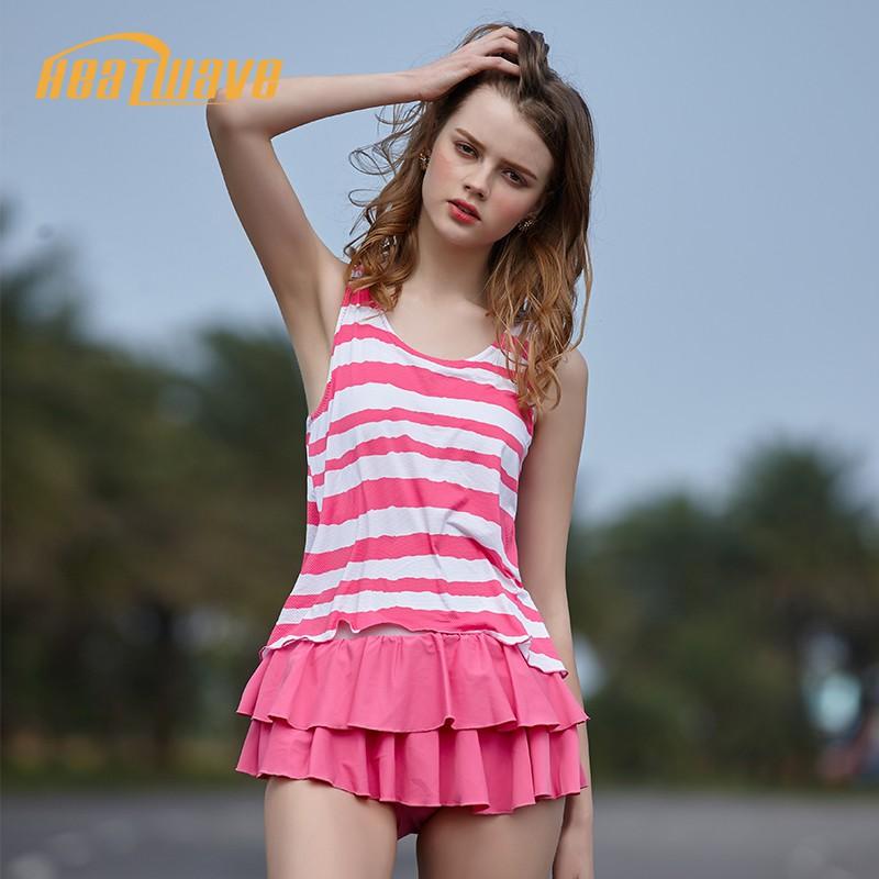 Heatwave熱浪粉色連身泳衣女ins風性感學生顯瘦小香風泳衣