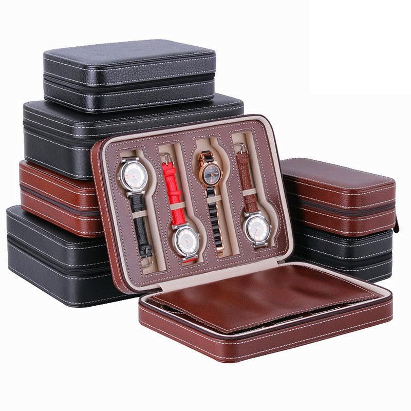 SKMEI便攜式2/4/8格旅行手錶展示盒PU皮盒