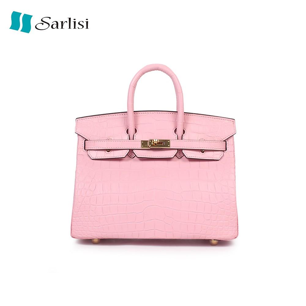 【Sarlisi 】夏麗絲進口真皮女包鱷魚皮女士手提包包新款氣質鉑金包