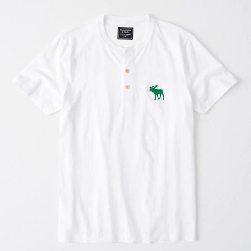 Abercrombie & Fitch 男裝 T恤 短袖 短T 亨利領 純棉上衣 A63558 白色AF(現貨)