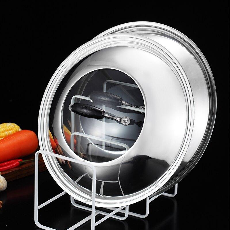不銹鋼鍋蓋家用通用組合可視玻璃蓋30 32 34 36cm可立式炒菜鍋蓋