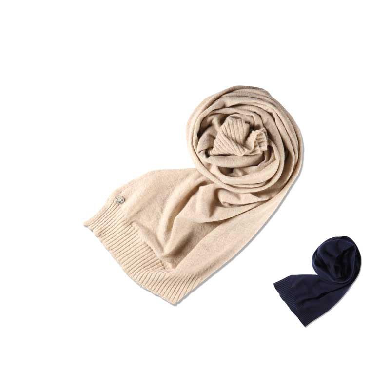 西班牙品牌Thinking MU Kinnted柔軟溫暖薄羊毛圍巾米色西班牙製