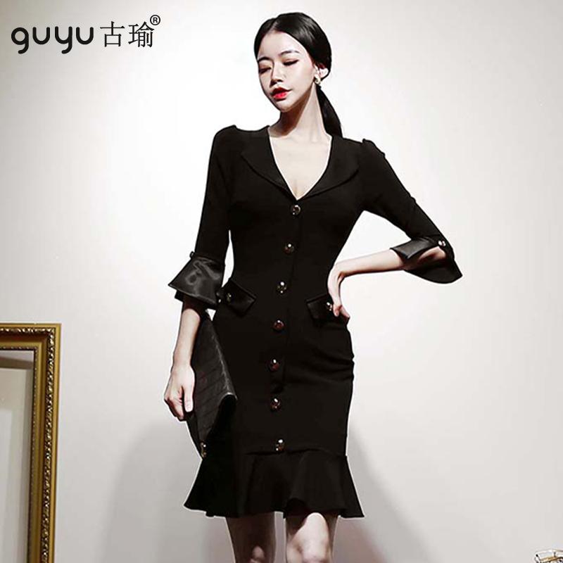 黑色禮服洋裝 S-XL韓版七分袖單排扣合身魚尾洋裝顯瘦小禮服