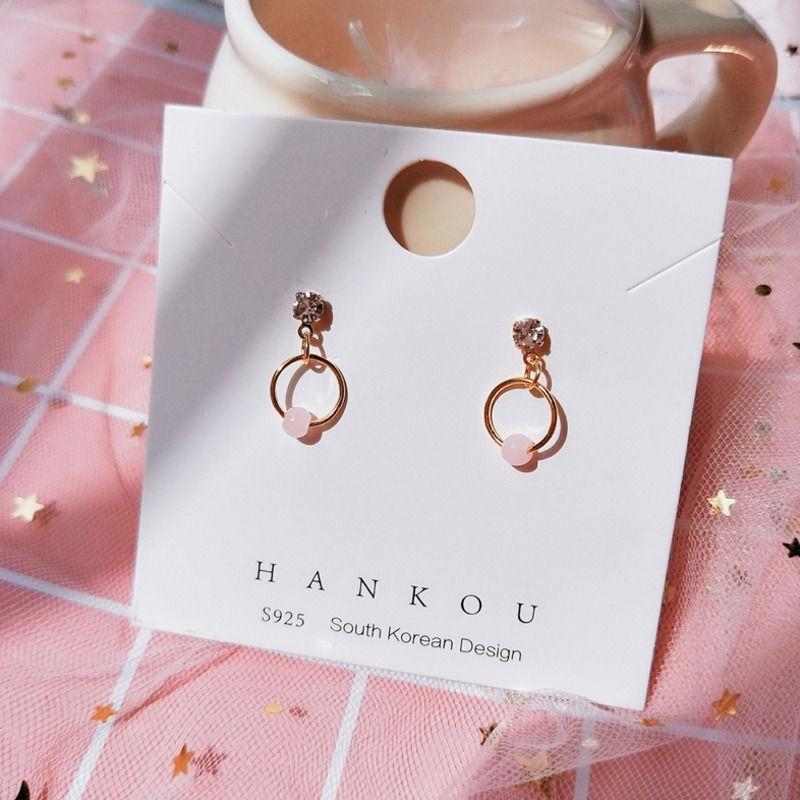 【現貨】韓系小清新少女心耳釘草莓粉色好心情甜美耳飾小巧百搭垂墜耳環