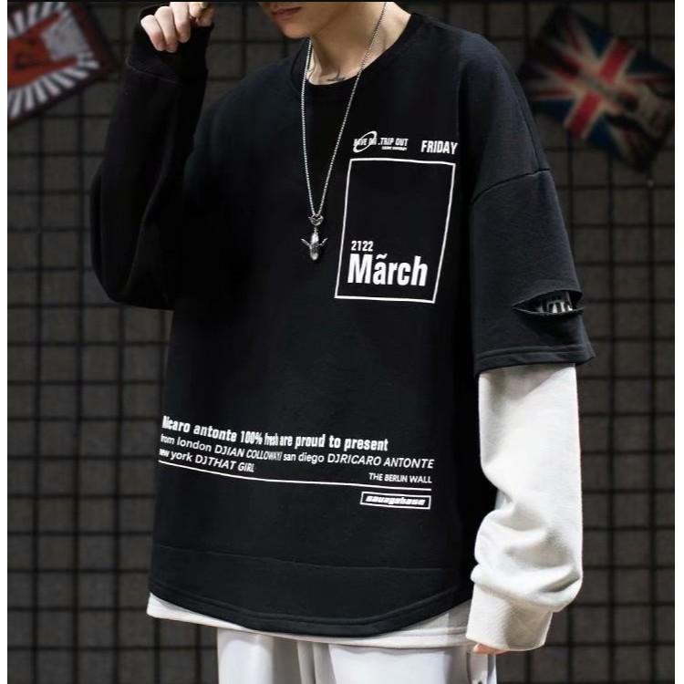 【M世代】假兩件長T長袖上衣男女國潮情侶設計感長袖衣服(MM031)