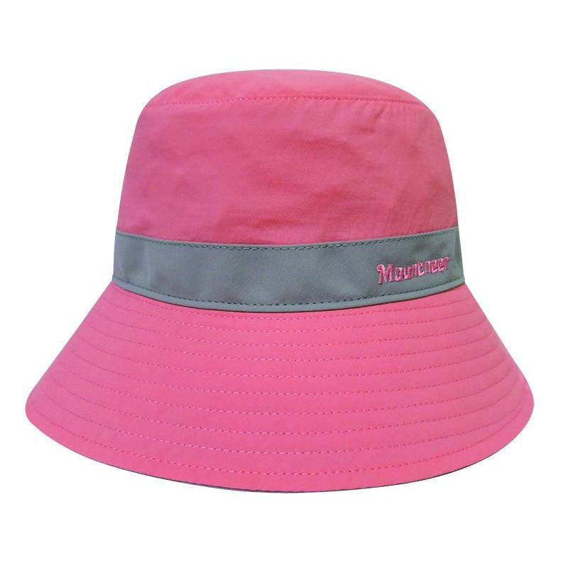 Mountneer山林  透氣抗UV收納帽.遮陽防曬休閒帽/可反折收納.帽繩可拆/11H09-31粉紅/卡其灰/野雁戶外