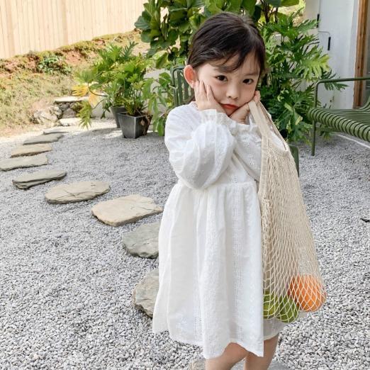 兒童蕾絲兒童長袖純色洋裝 女童洋裝 兒童洋裝 女童連衣裙【蘋果小舖】(MI)1912 A7