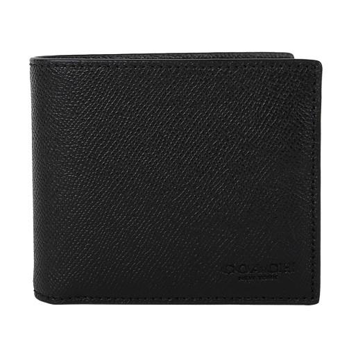 COACH- 壓印LOGO 防刮皮革附可抽式名片8卡短夾(黑)