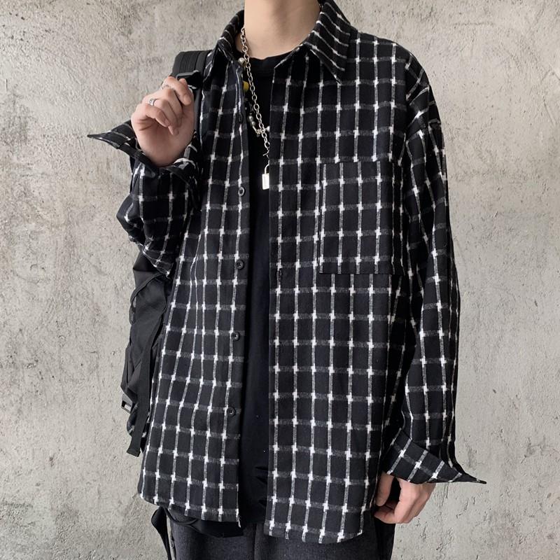 秋裝韓版格子襯衫  M-XL街頭風暗黑系寬鬆潮男格紋休閒長袖襯衫【逆主流】
