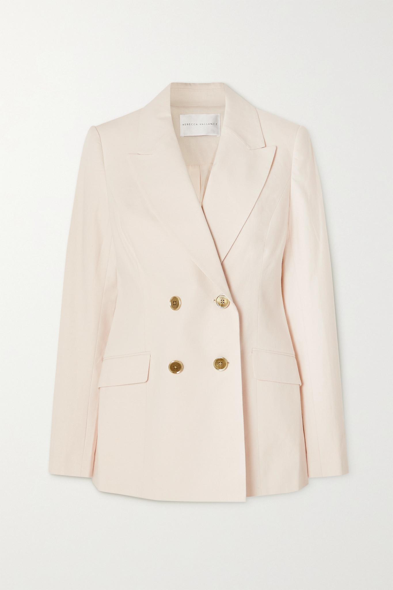 REBECCA VALLANCE - Verano Double-breasted Cotton-blend Blazer - Ivory - UK8