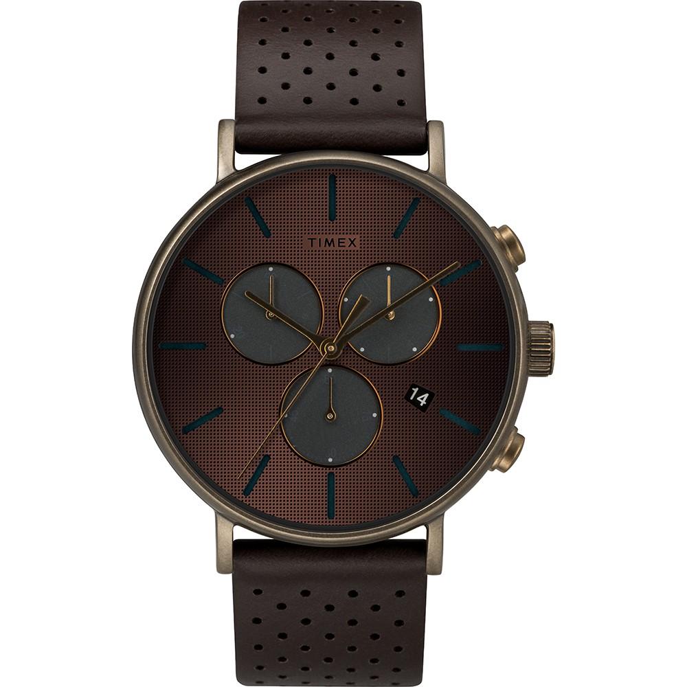【TIMEX】 天美時 Fairfield Chrono系列 時尚三眼計時手錶 (深咖啡 TXTW2R80100)