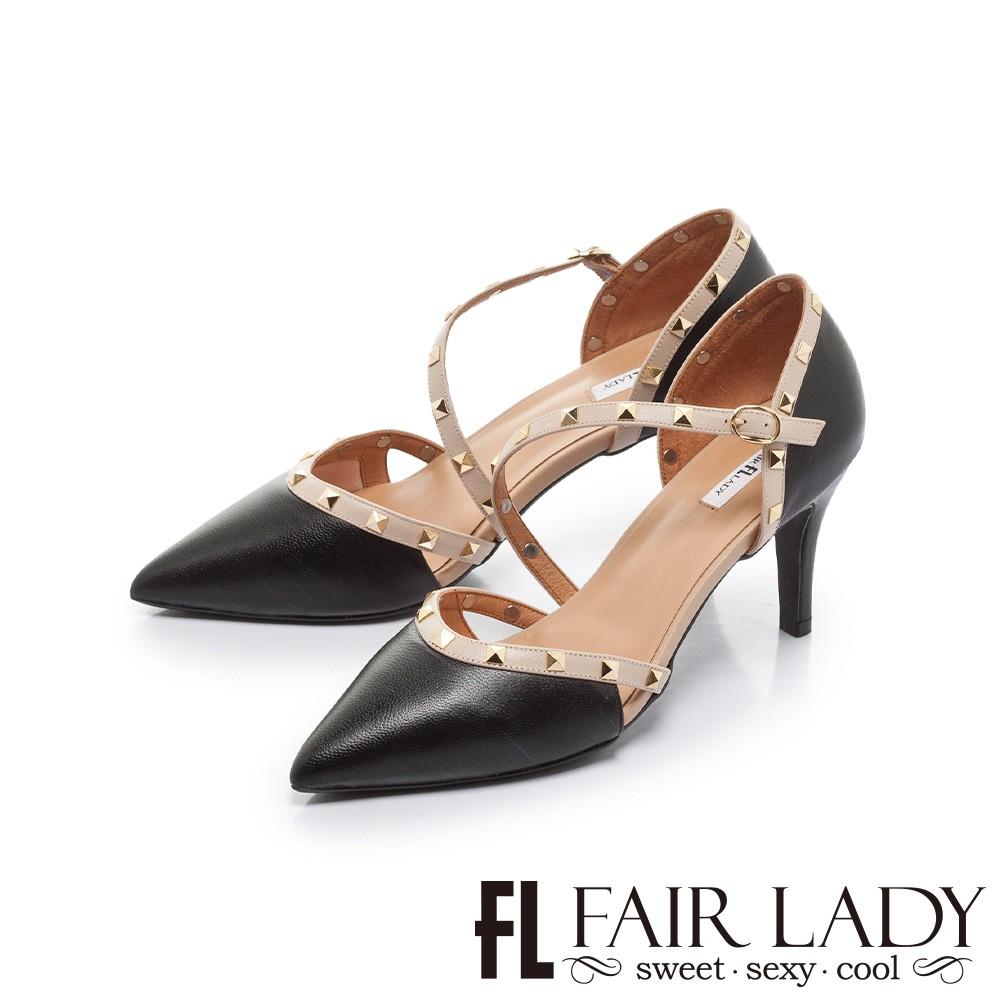 FAIR LADY 優雅小姐 尖頭繞帶鉚釘高跟涼鞋 黑 (402394)