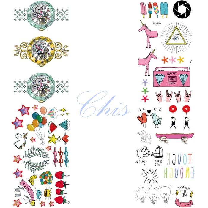 Chis Store fn【彩色個性刺青貼紙】韓國男女性感小清新原宿風 搖滾 卡通 派對 假手錶 收音機 防水紋身貼紙