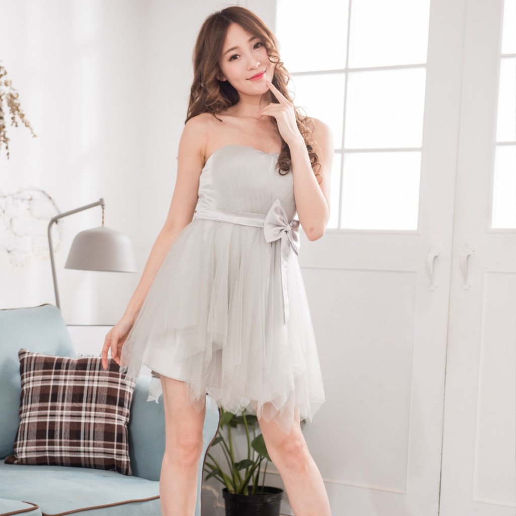 PMQueen白羽夜后洋裝禮服[30011-22]不規則網紗澎裙蝴蝶結綁帶洋裝/禮服