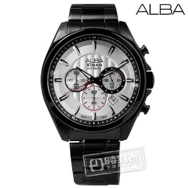 ALBA / 菁英質感系三環計時不鏽鋼手錶 銀x鍍黑 / VD53-X219SD / 45mm