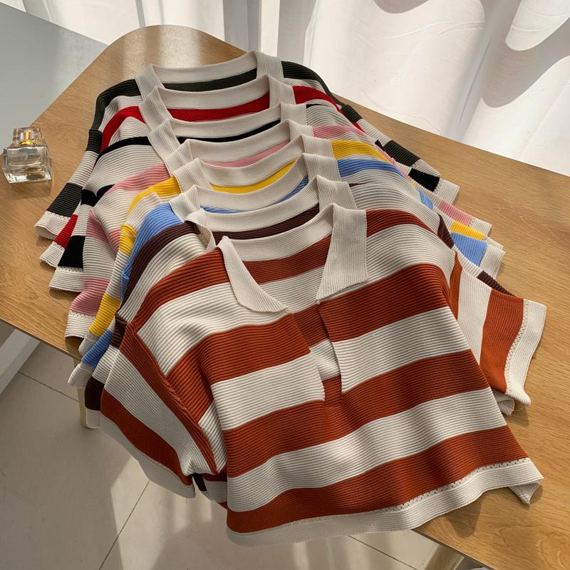 撞色條紋V領針織衫 17745短袖套頭寬松外穿洋氣款小個子短款上衣