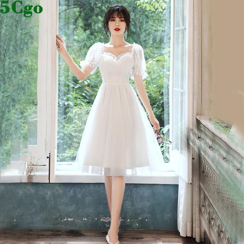 5Cgo含稅促銷宴會輕小晚禮服裙氣質白色學生聚會派對名媛連衣裙年會女 t620622502380