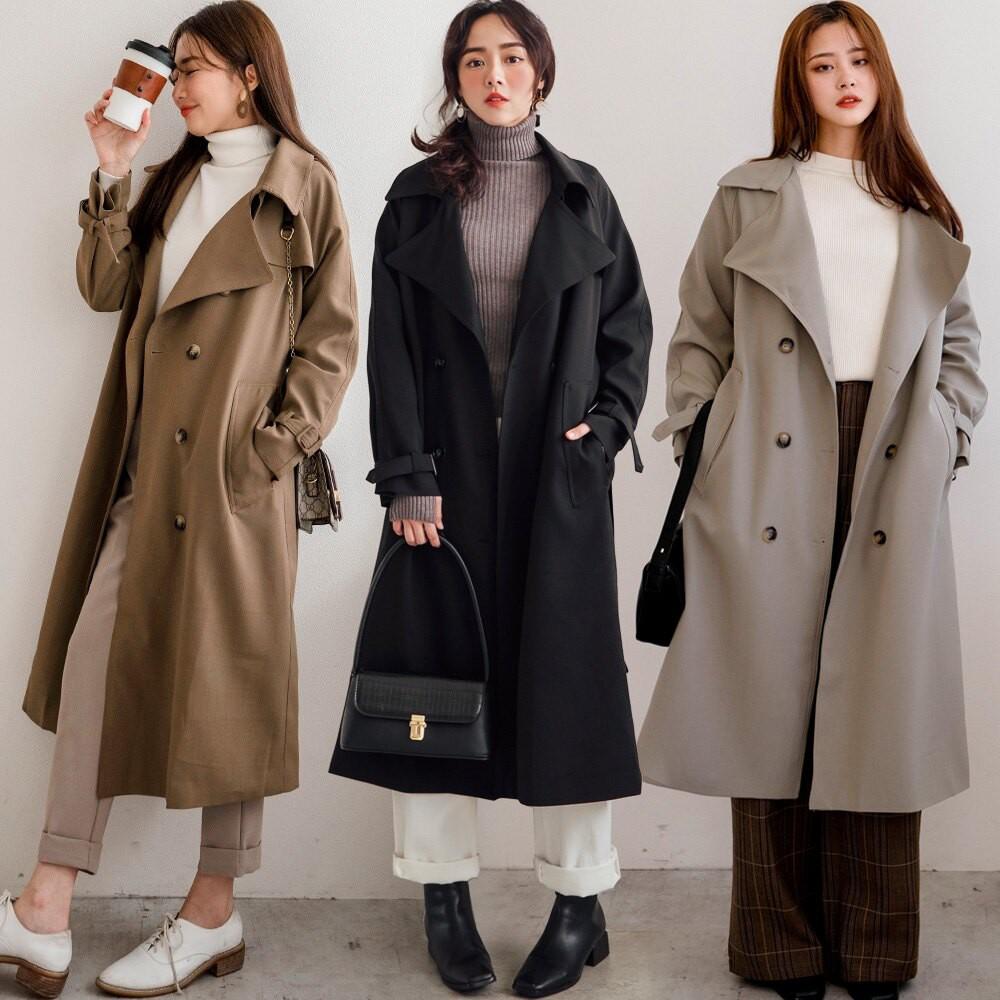 MIUSTAR 高質感西裝布 附綁帶雙排釦後開衩風衣外套(3色)外套 外套女生 風衣外套 1201 預購【NH3279】