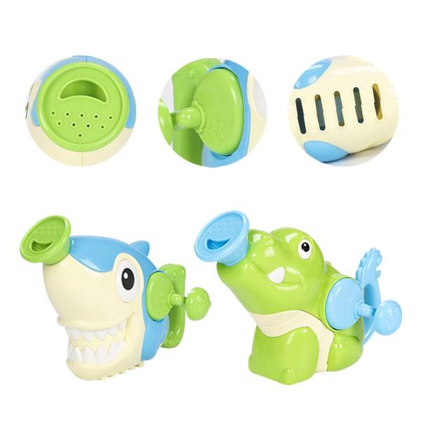 兒童洗澡戲水玩具 手搖鯊魚鱷魚噴水花灑浴室玩具 雪倫小舖【KON2158】