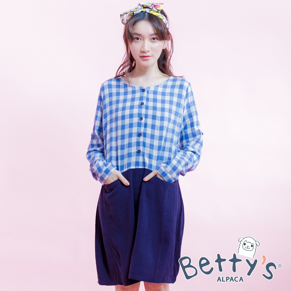 betty's貝蒂思 格紋拼接棉麻長袖洋裝(格紋淺藍)