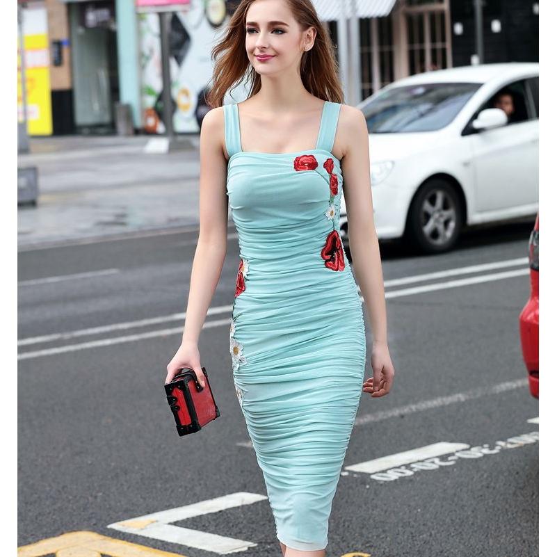 超級美刺繡吊帶平口洋裝彈力修身縮皺謝師宴洋裝及膝中長連衣裙宴會禮服