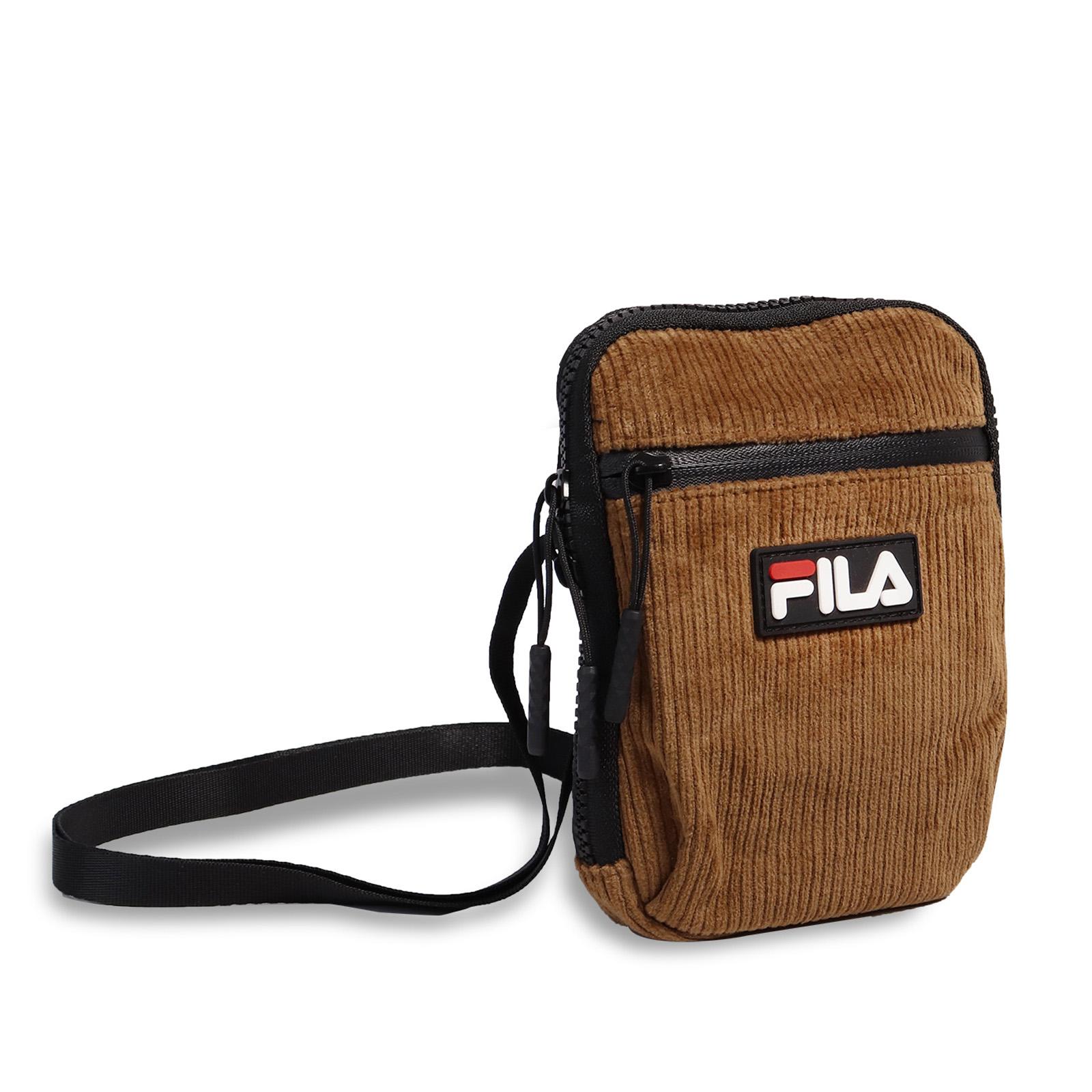 Fila 斜背包 Corduroy Shoulder Bag 咖啡 黑 男女款 燈心絨 小包【ACS】BSU9006OR