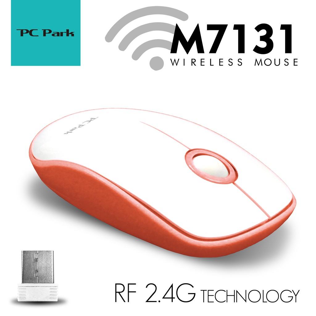 PC Park M7131WO 手感型無線滑鼠 4鍵 含滾輪 1200dpi RF無線 白橘色
