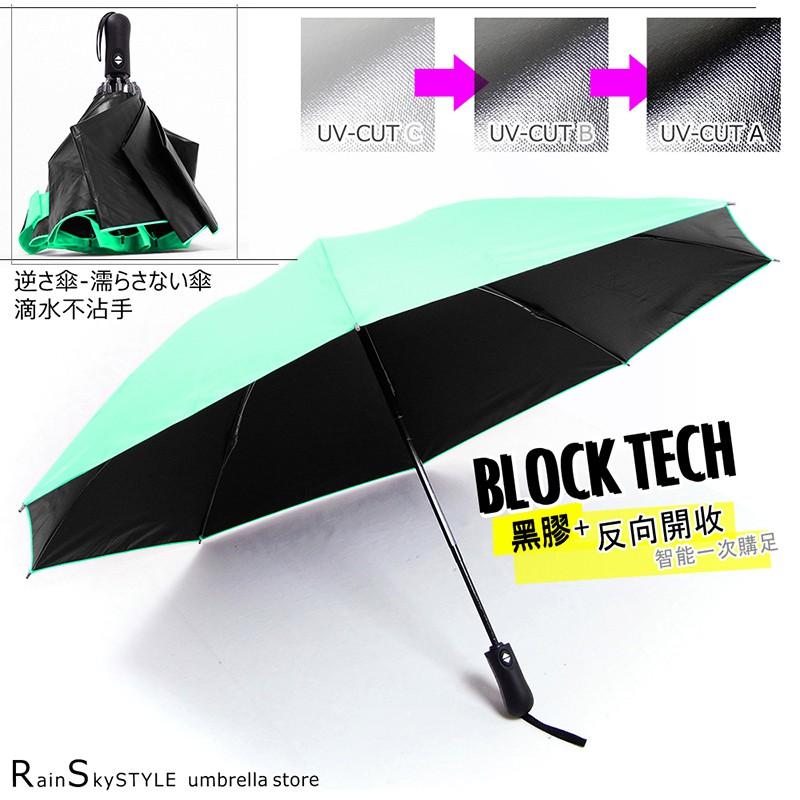 【傘市多-反向傘】黑膠反向自動傘_防手濕-晴雨對策 /晴雨傘防風傘超輕傘迷你傘折疊傘遮光傘防曬傘加大傘抗UV傘