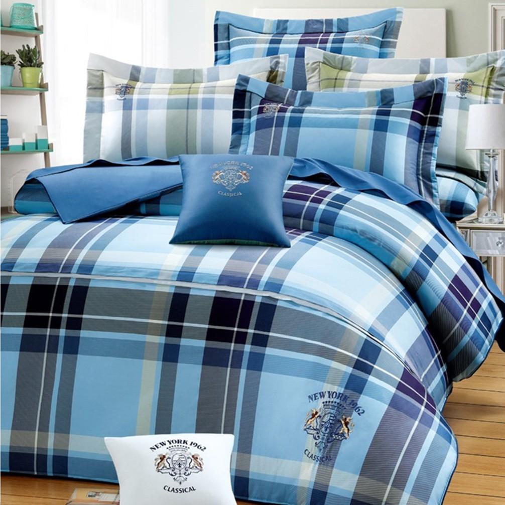 雙G 40支精梳棉 雙人/加大五件式床罩組 G-8818 英格蘭-藍 台灣製