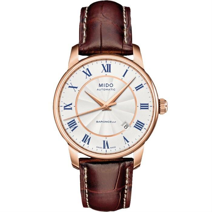 Mido 美度錶 M86002218 Baroncelli系列瑞士簡潔內斂皮革腕錶/銀 38mm