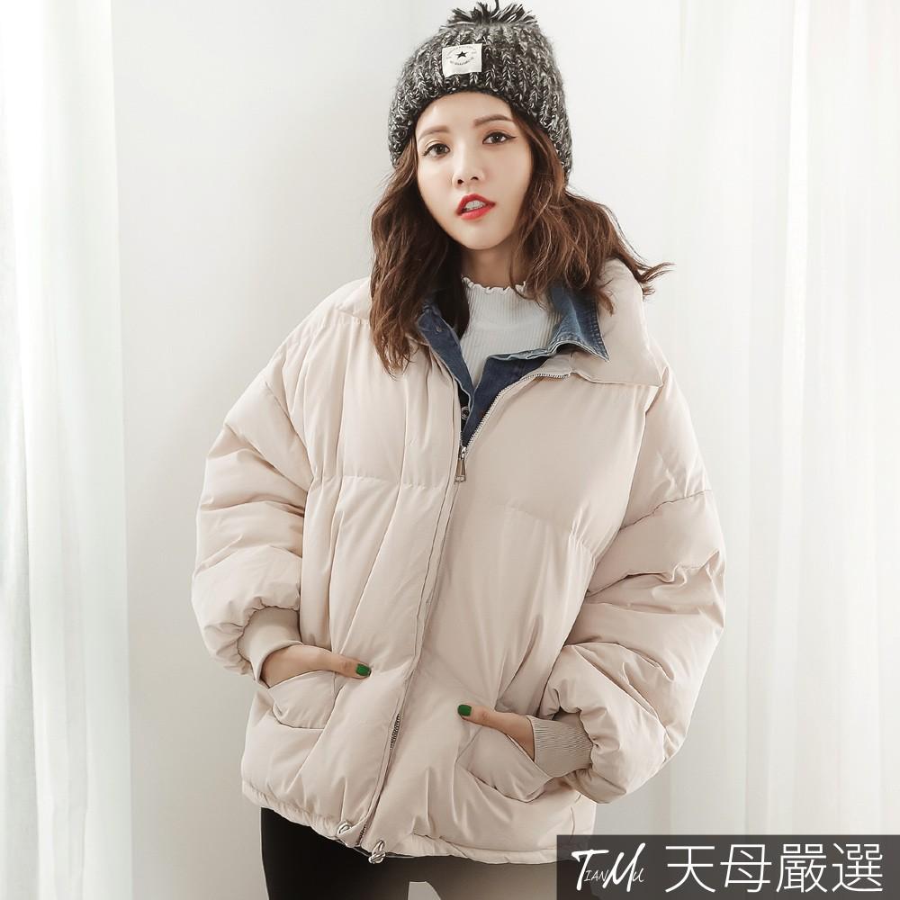 天母嚴選 丹寧牛仔襯衫拼接假兩件鋪棉夾克外套(共二色)