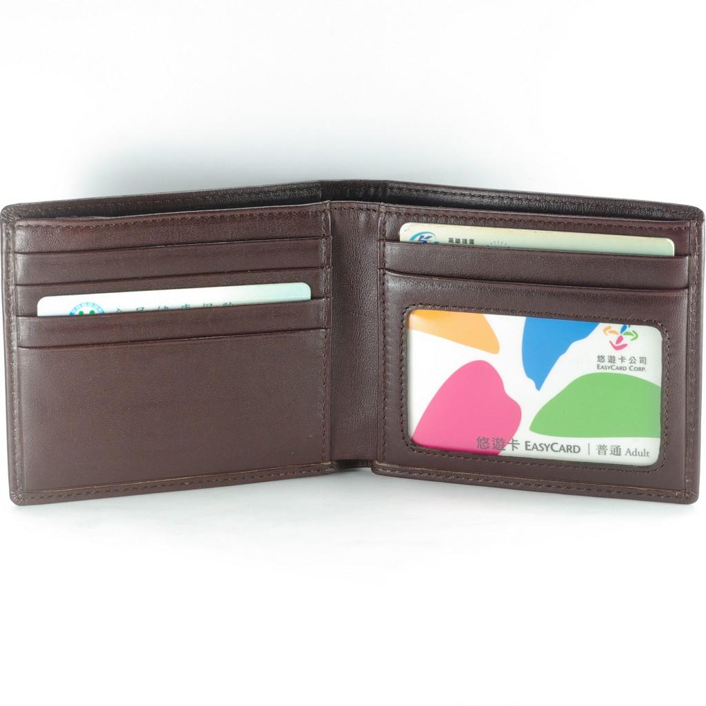 優雅男短夾真皮皮夾 5卡相片零錢袋 褐色 付費客製刻字服務