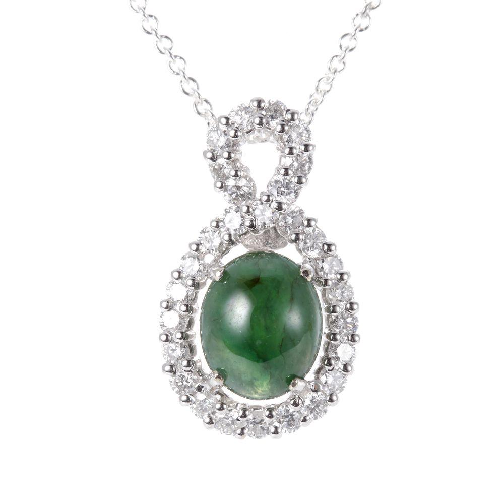 Dolly 緬甸 老坑翡翠 14K金鑽石項鍊(003)