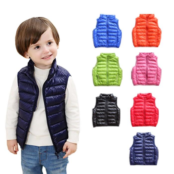 專櫃級-超輕量附收納袋兒童立領羽絨背心(90%羽絨)【11299-6】貝比幸福小舖