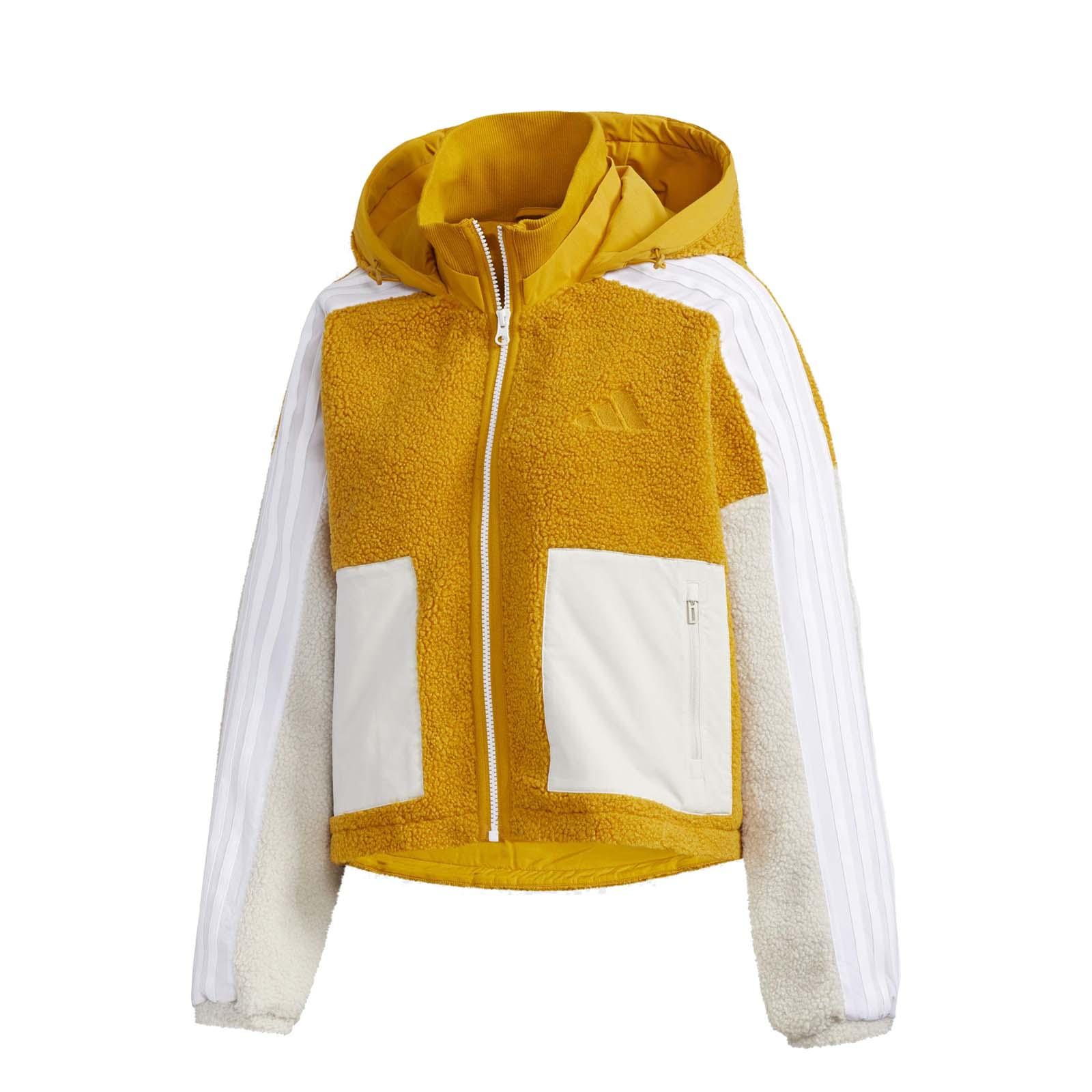 adidas 連帽外套 Urban BOA 黃 白 長袖上衣 短版 女款 愛迪達 【ACS】 GM1425
