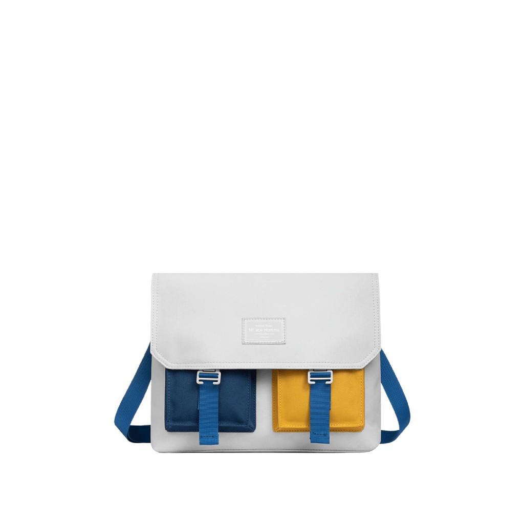 【HC STORE】藍黃撞色-雙前袋郵差包