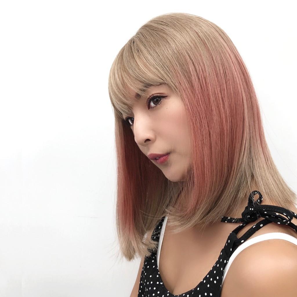 韓系全頂假髮 漸層白金 中長髮 粉紅色假髮 魔髮樂 D3089
