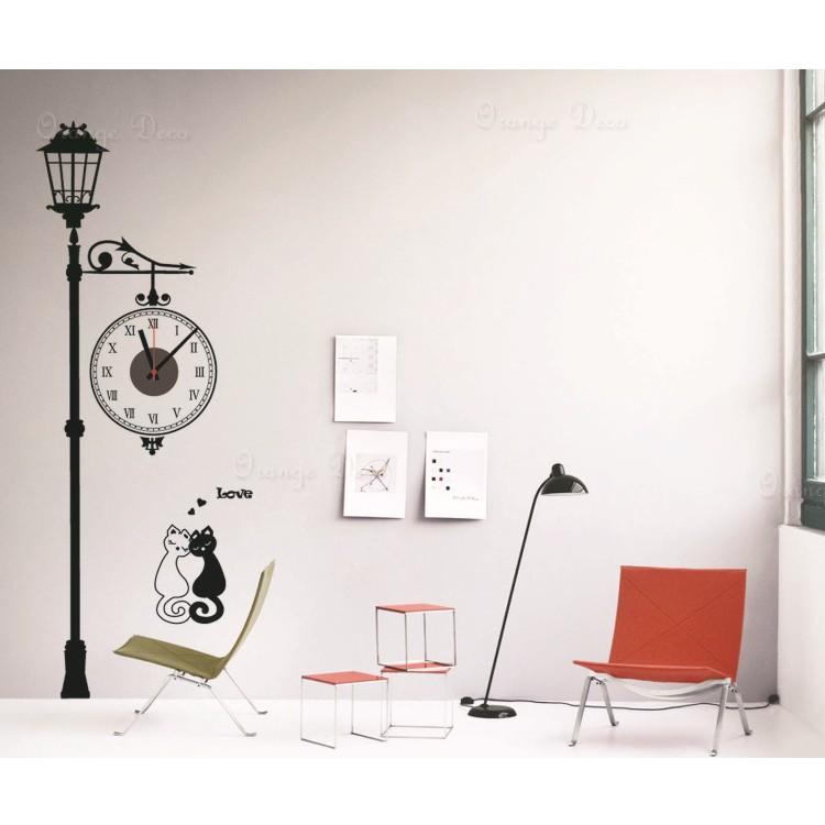 【橘果設計】藝術路燈 靜音壁貼時鐘 不傷牆設計 牆貼 壁紙裝潢