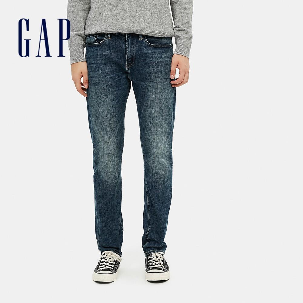 Gap 男裝 時尚中腰貓須紋五袋牛仔褲 604022-藍色