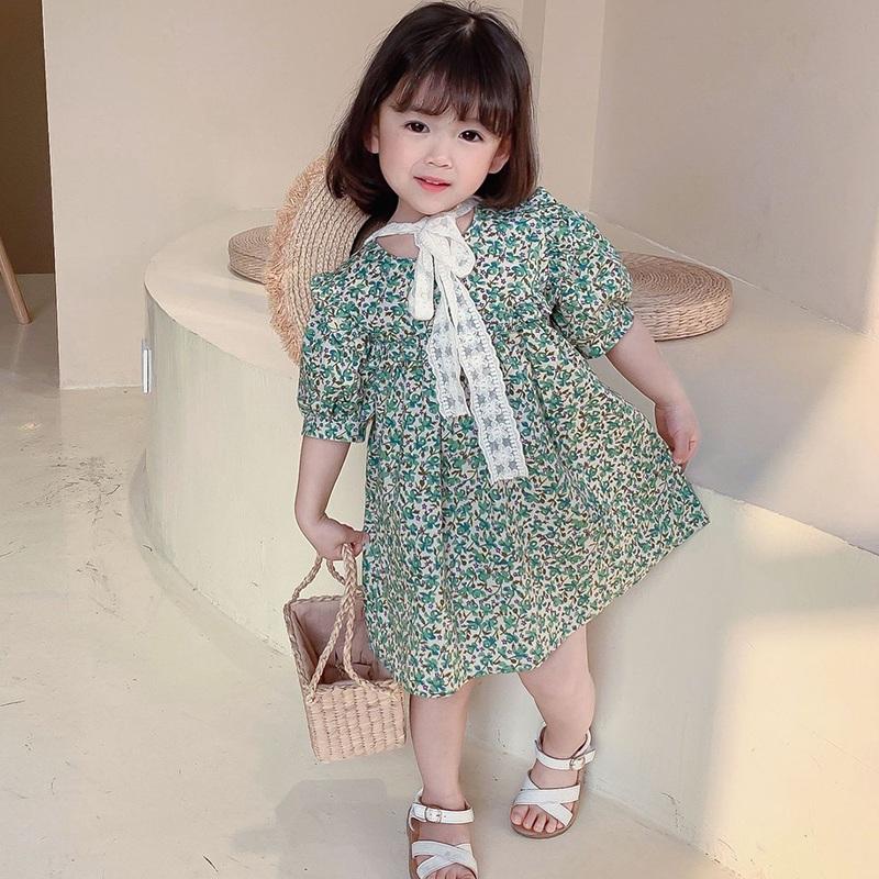 女童洋氣夏季短袖碎花洋裝 女寶寶甜美寬鬆泡泡袖碎花連衣裙 兒童可愛公主裙 裙子【IU貝嬰屋】